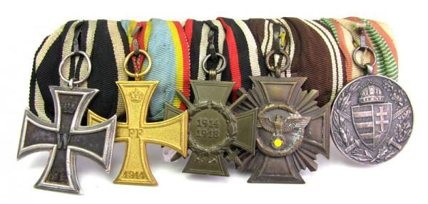 große 5er Ordenspange Mecklenburg Schwerin, NSDAP Bronze, EK2