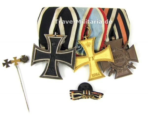 3er Ordenspange Mecklenburg-Schwerin mit Nadel und Knopflochdeko