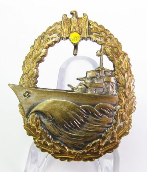 Zerstörerkriegsabzeichen Steinhauer, Buntmetall mit Trägergravur Torpedoboot T18