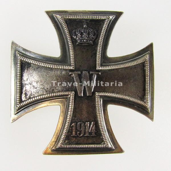 seltenes Eisernes Kreuz 1. Klasse 1914 an DRGM Schraubscheibe - 800 Silber