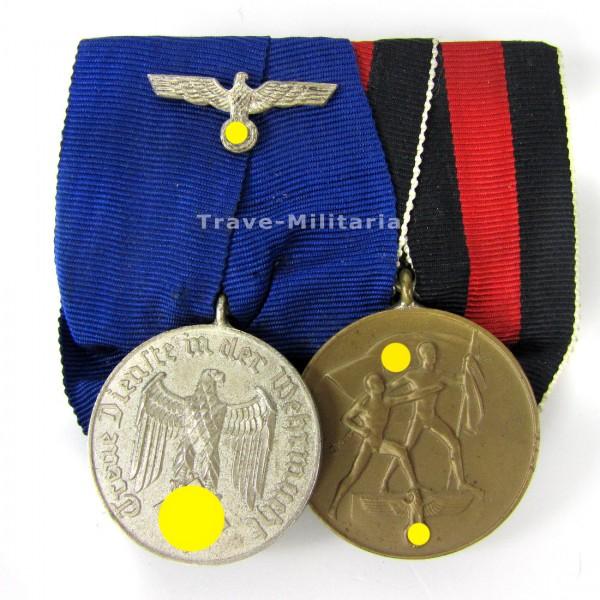 2er Ordenspange DA WH 4 Jahre und Sudetenlandmedaille