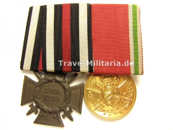 2er Ordenspange Frontkämpferehrenkreuz und Bulgarien Kriegsdenkmünze