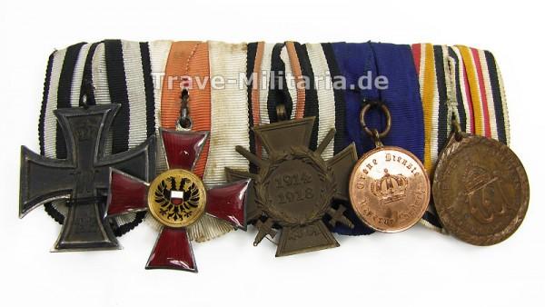 5er Ordenspange mit Lübecker Hanseatenkreuz und China-Denkmünze für Kämpfer