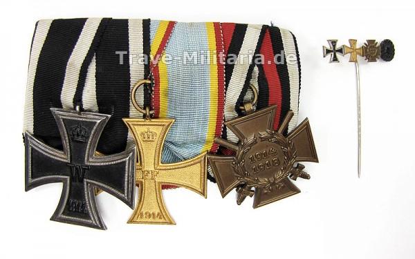 3er Ordenspange Mecklenburg-Schwerin mit 4er Miniatur