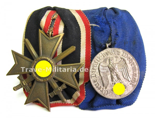 2er Ordenspange Kriegsverdienstkreuz 2. Klasse und Wehrmachtsdienstauszeichnung 4 Jahre