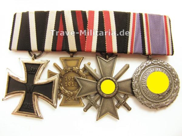 4er Ordenspange mit Luftschutz-Ehrenzeichen 2. Klasse