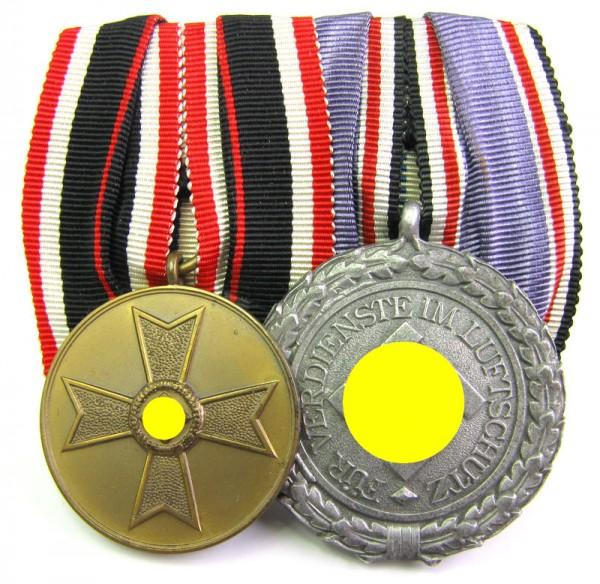 2er Spange mit Kriegsverdienstmedaille und Luftschutzehrenzeichen