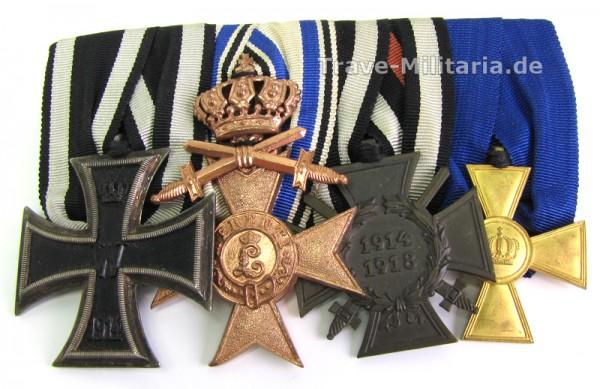 4er Spange mit Bayr. Militärverdienstkreuz 3. Kl. mit Krone und Schwertern