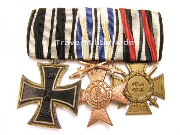 Bayern 3er Ordenspange mit MVK 3. Klasse mit Schwertern
