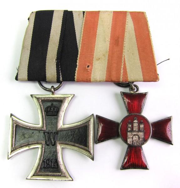 große Ordenspange Eisernes Kreuz 2. Klasse und Hamburger Hanseatenkreuz