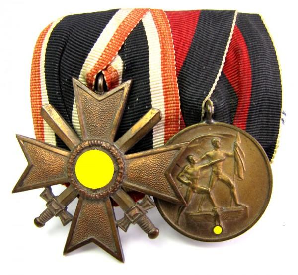 große Ordenspange 2er mit Buntmetall KVK und Erinnerungsmedaille 1938