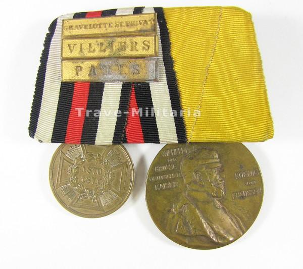 Ordenspange KDM 1870/71 und Erinnerungsmedaille Kaiser Wilhelm 1.