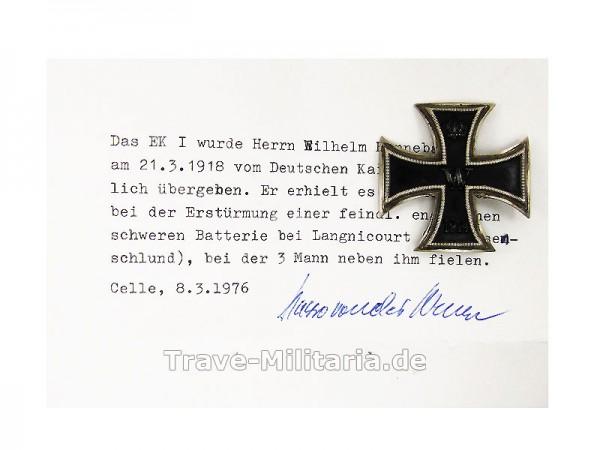 Eisernes Kreuz 1. Klasse 1914 mit Bestätigung von 1976